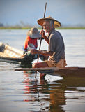 An old  fisherman on inle lake,myanmar 2 Royalty Free Stock Image