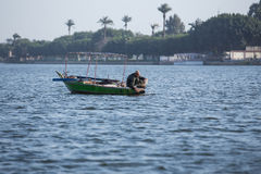 Old fisherman on the Nile River in Egypt Stock Photos