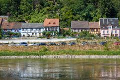 Old fisherman`s houses on the the river Elbe in Saxony royalty free stock photo