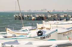 Old Fisherman`s Wharf In Pomorie, Bulgaria, winter Royalty Free Stock Photo