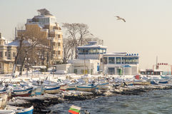 Old Fisherman`s Wharf In Pomorie, Bulgaria, winter 2017 Royalty Free Stock Photo