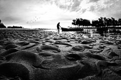 The Old Fisherman silhouette in black and white Stock Images
