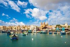Old fisherman village of Marsaxlokk, Malta.  Stock Photos