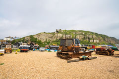 Free Old Fishermans Boats And Bulldozer On Seafront In Hastings Old T Royalty Free Stock Photos - 92483088