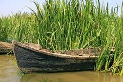 Old fishermen boat. In the Danube Delta Stock Photo