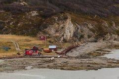 Old fishermen`s huts iat the coast royalty free stock photography