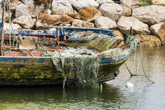Old fishing boat. At the Algarve in Portugal Royalty Free Stock Photo