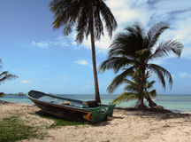 Old fishing boat beach with palm trees North End Big Corn Island. Old fishing boat on beach with palm trees North End Big Corn Island Nicaragua Central America Royalty Free Stock Photography
