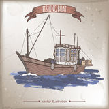 Old fishing boat color sketch. Fishing boat color sketch. Great for travel ads and brochures, fishing and seafood illustrations Stock Photography