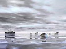 Old fishing boat - 3D render vector illustration