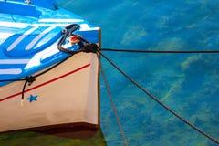 Old Fishing Boat in Greek Island Mykonos Stock Photos