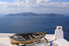 Old fishing boat - Greek scene on Santorini Stock Images
