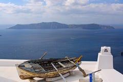 Old fishing boat - Greek scene on Santorini Stock Images