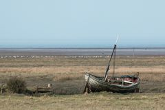 Old Fishing Boat in Norolk. Old fishing boat at low tide on the salt marsh at Thornham, Norfolk Stock Images