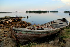 Old fishing boat, the monks of the Solovetsky monastery on the shore of the island of the Solovetsky archipelago in the White Sea. The fishing ship owned by the Stock Photo