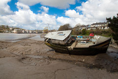 Old fishing boat. Is moored on beach Stock Photo