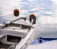 Old fishing boat without a motor. Old fishing boat without any mounted motor Royalty Free Stock Photography