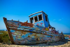 Old fishing boat. In calm water on comporta, alentejo Portugal Royalty Free Stock Photography
