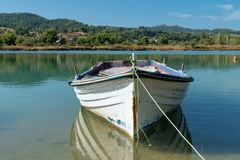Old fishing boat. On the lake Royalty Free Stock Photos