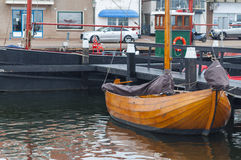 Old fishing boat parked in old fishing village of Urk, Netherlan Royalty Free Stock Image