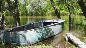 Old fishing boat stock footage