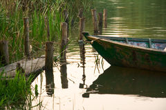 Old fishing boat on the river Royalty Free Stock Photography