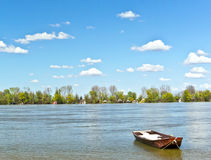 Old fishing boat on river spring blue sunny day Danube Serbia Zemun Gardos Kej Royalty Free Stock Images