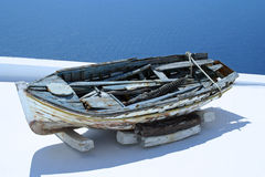 Old fishing boat in Santorini, Greece Stock Image