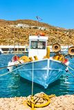 Old fishing boat in Santorini. Old fishing boat in port of Thira in Santorini, Greece Stock Photo
