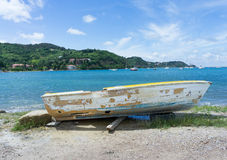 Old fishing boat on shore Royalty Free Stock Photo