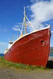Old fishing boat. On the shore, Westfjords, Iceland royalty free stock images