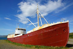 Old fishing boat. On the shore, Westfjords, Iceland stock photography