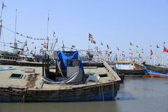 Old Fishing Boat in yard Stock Photography