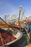 Old fishing boats. In Agadir, Morocco Royalty Free Stock Images