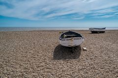 Old Fishing Boats in Aldeburgh. On the North Sea in Suffolk, England, United Kingdom royalty free stock photo