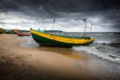 Old fishing boats. On the Baltic coast. Sopot, Poland Stock Photos