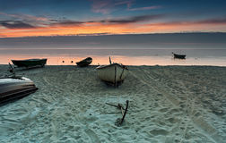 Old fishing boats  at the Baltic sea Stock Photography
