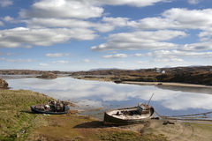 Old fishing boats beached on Donegal beach Royalty Free Stock Photography