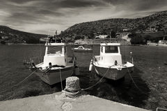 Old fishing boats. In black and white Royalty Free Stock Photography