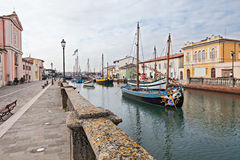Old fishing boats in Cesenatico, Italy Stock Images