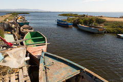 Old fishing boats at delta of Ebro Royalty Free Stock Photos