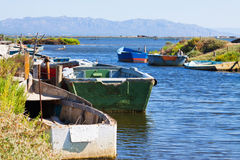 Old fishing boats at delta of Ebro river Stock Images