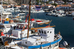 Old fishing boats in the harbour of Hydra island, Aegean sea Royalty Free Stock Photography