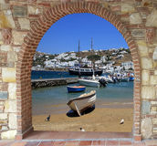 Old fishing boats on old port of Mykonos Royalty Free Stock Images