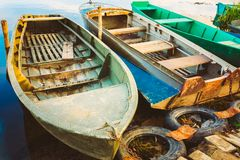 Old Fishing Boats In River Stock Images