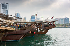 Old fishing boats. With rusty metal nets in the Persian Gulf Royalty Free Stock Photos