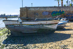 Old fishing boats on the shore of a river Royalty Free Stock Photography