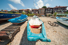 Old fishing boats on the waterfront of Nessebar in Bulgaria Stock Photography