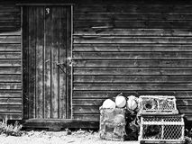 Old Fishing Croft. Black and white closeup picture of the exterior of an old fishing croft Royalty Free Stock Image