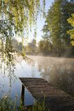 Old fishing gantry. Old fishing platform under willow tree Stock Photo